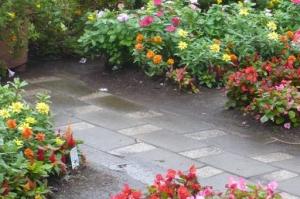 駅を行き交う人々の、心癒す花壇