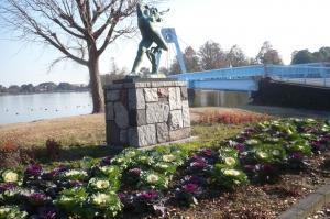 水元大橋をのぞむ冬花壇